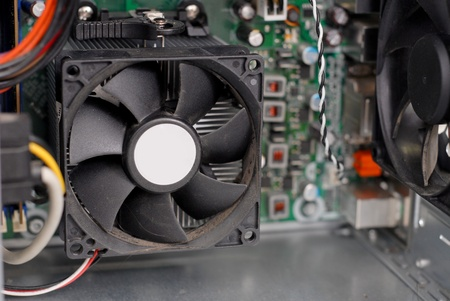 processors: CPU Processor Cooling Fan in Computer Stock Photo