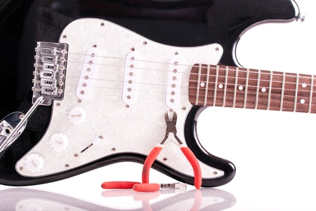 Guitar Repair Concept Stock Photo