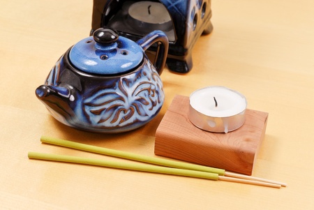 Oil Kettle with Candle and Incense Sticks (Aroma Therapy) photo