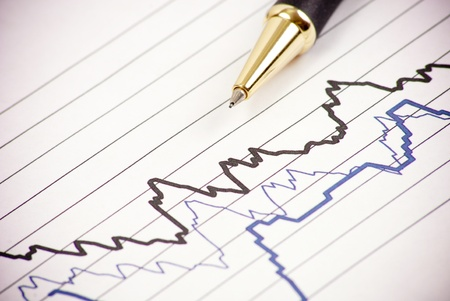 to lie: Reading Seismology Graphs Stock Photo