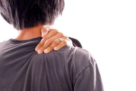 Man die lijden aan schouder en nek pijn Stockfoto