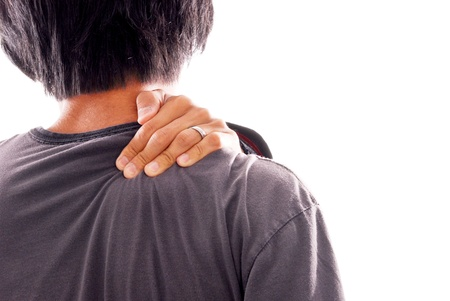 pains: Man Suffering From Shoulder and Neck Pains