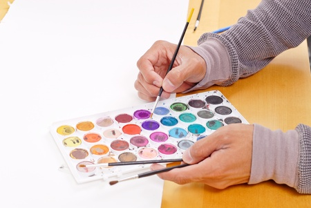 Artist Choosing a Color Stock Photo - 9441602