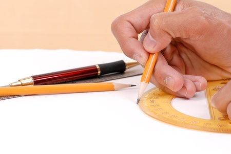 Using a Protractor Stock Photo - 9441590
