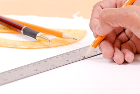 vocational high school: Drawing a Line Stock Photo
