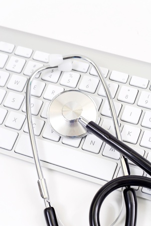 Stethoscope on Computer Keyboard  免版税图像