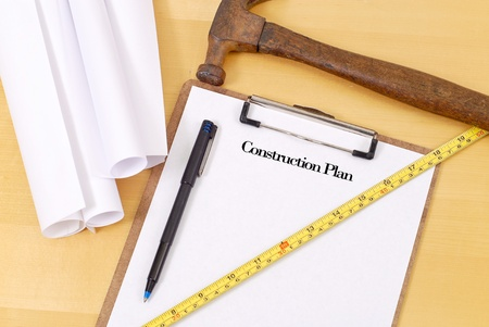 Plans for Construction with Hammer and Ruler Reklamní fotografie