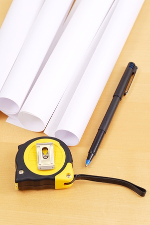 Tape Measure with Pen and Blue Prints Stock Photo - 9576663