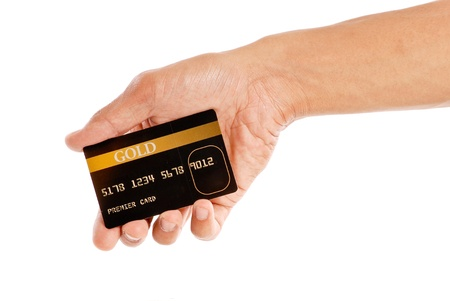 business cards: Premier Gold Status Credit Card Stock Photo