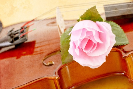 grunged: Rose on Violin in Grunged Texture