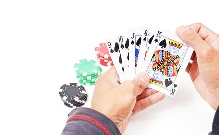 straight flush: Straight Flush in Poker Players Hand