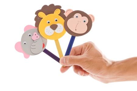 Fun Popsicle Stick Animal Puppets Archivio Fotografico
