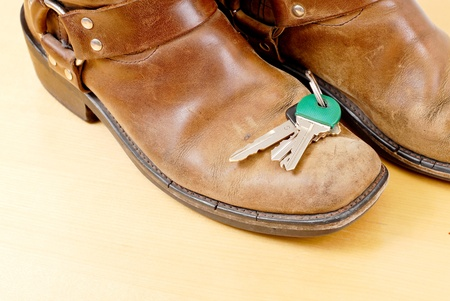 Lost Keys on Shoes Stock Photo - 9835453