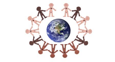 People Shape Cut Outs Surrounding Planet Banco de Imagens