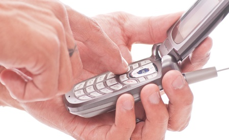 voicemail: Hands Dialing on Phone Key Pad
