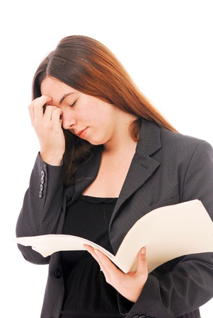Business Woman Holding Head in Pain Stock Photo - 10072082