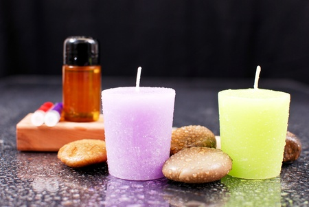 Lavender and Lime Scented Bath Candles Stock Photo - 10072142