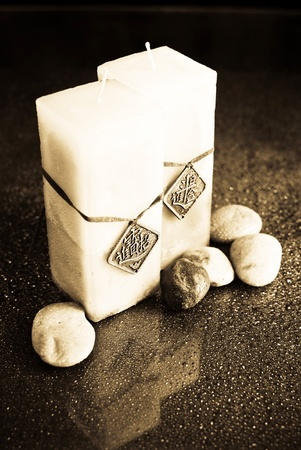 Bath Candles in Sepia with Rocks Stock Photo - 10072147