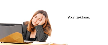 tedious: Business Woman Falling Asleep on Computer Stock Photo