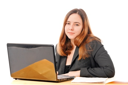 data entry: Business Woman Smiling at Camera on Computer