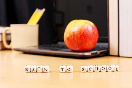apple computer: Back To School Concept Image Stock Photo