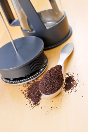 heaping: Heaping Spoonful of Freshly Ground Coffee