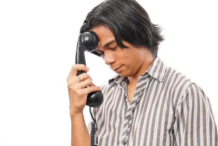 customer service representative: Tired of Being Put on Hold Stock Photo