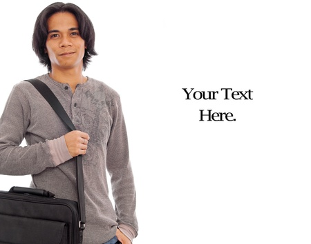 filipino adult: Happy Male College Student with Messenger Bag
