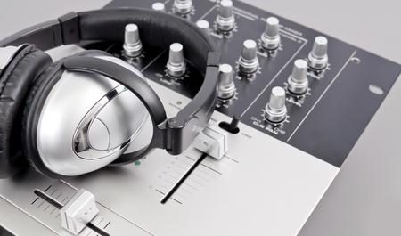 Studio Mixer and Headphones Archivio Fotografico
