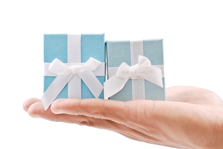 Two Ring Boxes in Hand Stock Photo