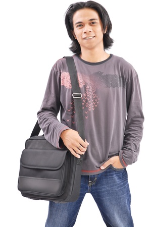 filipino adult: College Student with Messenger Bag