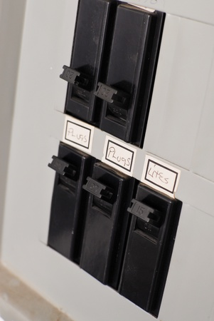 labeled: Turning On the Power Stock Photo