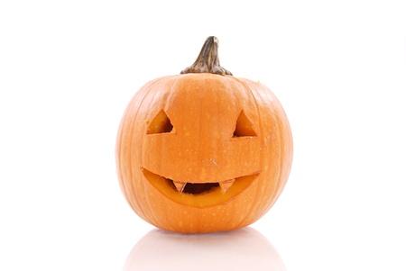carved pumpkin: Fun Carved Smiling Pumpkin