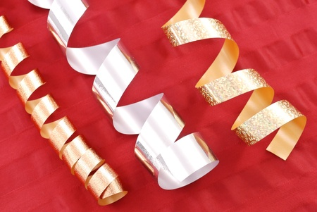 Gold and Silver Christmas Gift Ribbons photo