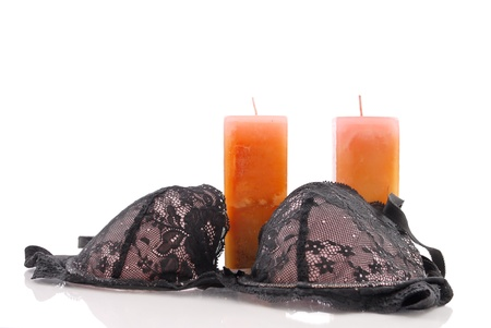 Black Bra with Candles
