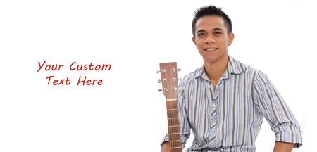 art lessons: Smiling Man with Guitar and Space for Text Stock Photo