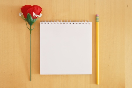 Rose and Pencil with Memo Book