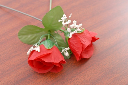 soul mate: Two Roses on Wood Surface