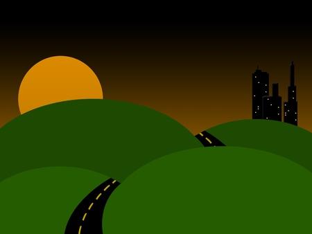 町に日没ドライブ 写真素材