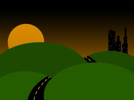 paved: Sunset Drive to Town Stock Photo