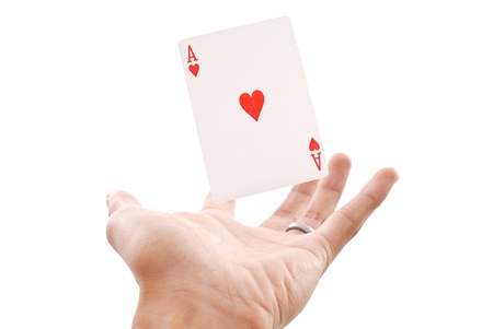 Floating Ace of Hearts in Hand photo