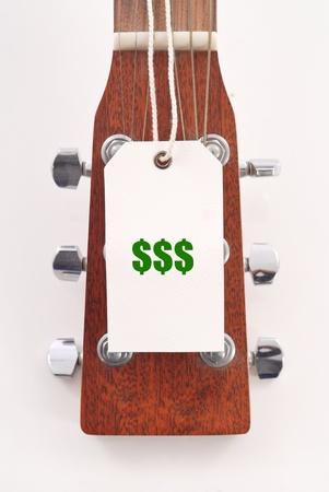 head tag: Price Tag on Guitar Head Stock Photo