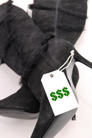 Price Tag on Pair of Ladies Shoes photo