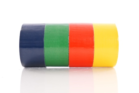 duct tape: 4 Different Colored Duct Tape Rolls Stock Photo