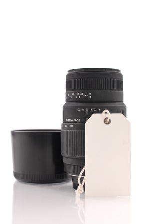 resell: Price Tag on a SLR Lens Stock Photo