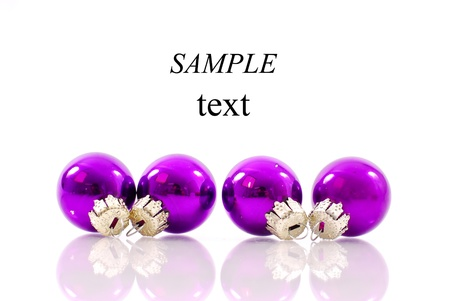 Purple Christmas Ornaments with Space for Text photo