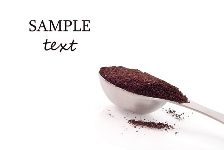 coffee grounds: Scoop of Coffee Grounds with Space for Text