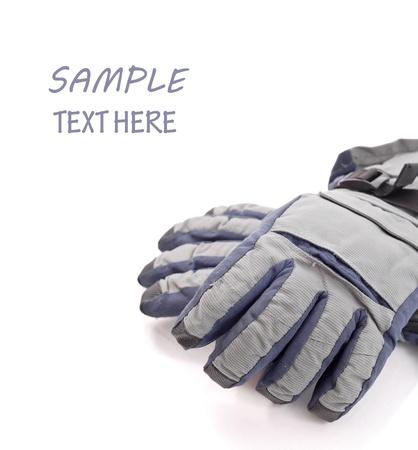 Sneeuw handschoenen met ruimte voor tekst Stockfoto