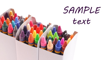 Three Crayon Boxes with Space for Text Stock Photo - 11536474