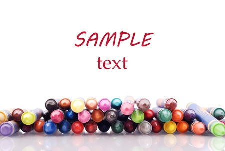 Pile of Crayons with Custom Space for Text Stock Photo